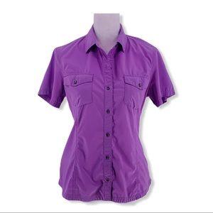 Eddie Bauer Womens Fitted Active Button-Up Shirt M
